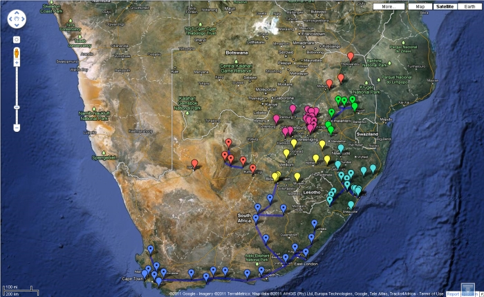 South African amateur radio repeaters in Google Maps